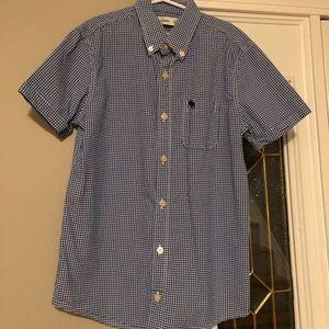Boys Abercrombie blue/white gingham shirt